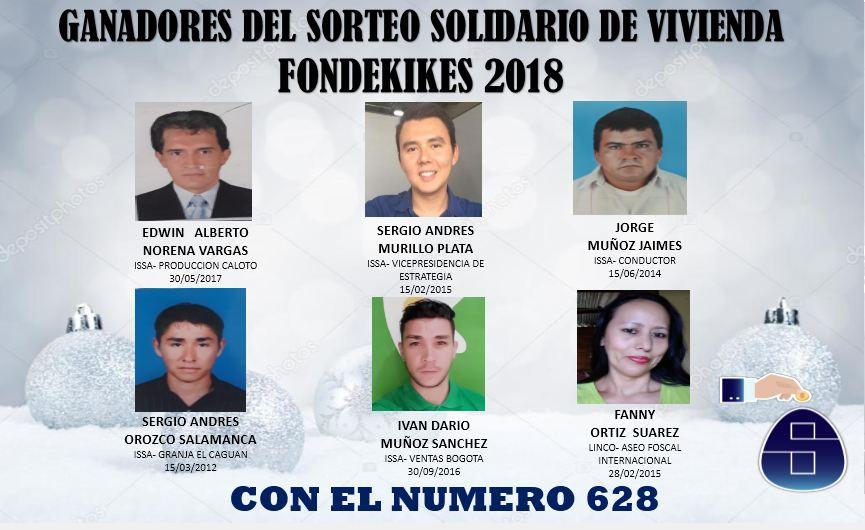 ESTOS FUERON LOS FELICES GANADORES DEL SORTEO SOLIDARIO DE VIVIENDA FONDEKIKES 2018 – CON EL NUMERO 628