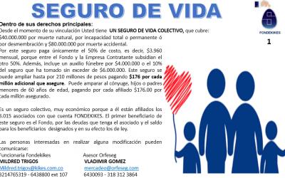 GRAN BENEFICIO POR SER ASOCIADO DE FONDEKIKES: SEGURO DE VIDA