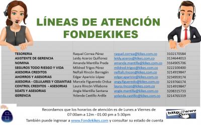 RATIFICAMOS NÚMEROS DE ATENCIÓN FONDEKIKES
